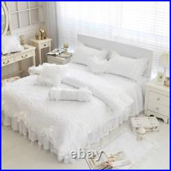 100% Cotton Thick Quilted Lace Bedding Set King Queen Twin Size Bed Set Princess