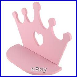 10XPink Wooden Crown Wall Shelf for Princess Room Daughter Girls Room Deco A5X5
