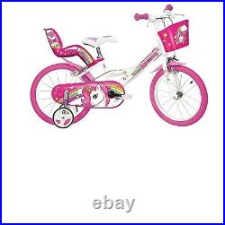 14 inch Kids Bike Unicorn with Large Front Basket and Removable Stabilisers-Pink