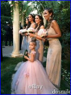 2018 Pink Flower Girl Dress Kids Pageant Formal Princess Wedding Party Ball Gown