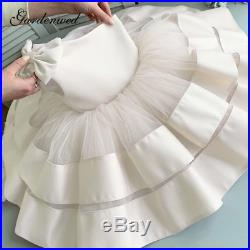 2020 Puffy Pink Flower Girl Dresses Hot Selling Layers Satin Bow Kids Princess D