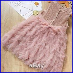 20XBaby Girls Dress Little Princess Lace Flower Tutu Sashes Summer