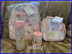 4 Pottery Barn Kids DISNEY PRINCESS Large Backpack Lunch Box Water Bottle Thomer