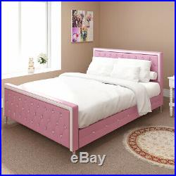 5ft Pink White Kids Bed For Girls Diamond Princess Bed Faux Leather King Size