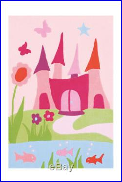 Arte Espina Kid's Carpet Princess Castle Motif Butterfly Rug Pink