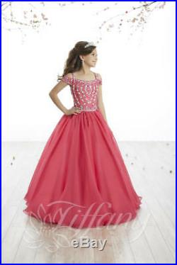 Authentic Tiffany Princess 13515 Cherry PINK Girls Pageant Gown Dress Sz 10 $269