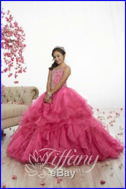 Authentic Tiffany Princess 13522 PINK Girls Pageant Ball Gown Dress Sz 14 NWT