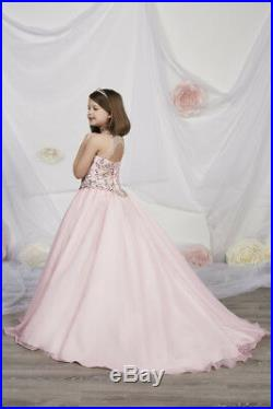 Authentic Tiffany Princess 13534 PINK Girls Pageant Gown Dress Sz 14 NWT $320