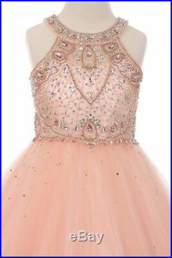 Beaded Blush Pink Gown Princess Flower Girls Dress Wedding Party Pageant 5027
