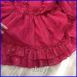 Betty Oden Vintage Hot Pink Party Pageant Circle Dress Silver Glitter Dot Bow 6