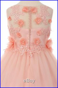 Blush Long Princess Flower Girl Dress Party Pageant Elegant Wedding arty 5034