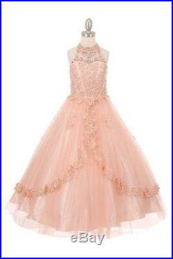 Blush Pink Princess Long Flower Girls Tulle Dress Party Pageant Gown Wedding 60