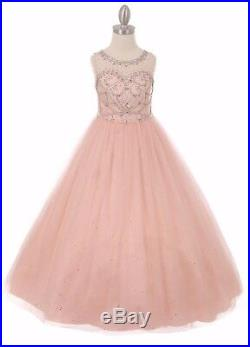 Blush Princess Ball Gown Flower Girls Dress Formal Pageant Wedding Party 5042