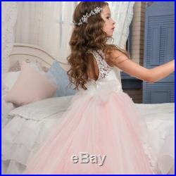 Brand New Girl Kids Pink Lace Formal Dress Princess Party Dress Size 2 to 13