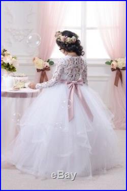 Brand New Girl Kids White Lace Formal Dress Princess Party Dress Size 2 to 13