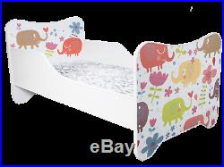 CHILDRENS BED TODDLER KIDS + MATTRESS and BED SHEET 30 DESIGNS 140x70