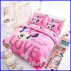 Cartoon Minnie Mickey Mouse Bed Duvet Cover Set Kids Bedding Sheets Princess New