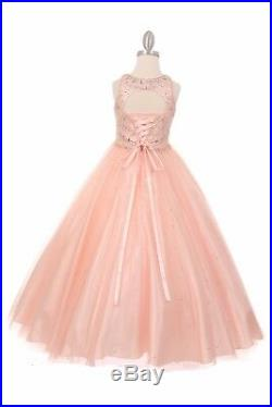Champagne Beaded Princess Ball Gown Flower Girl Dress Party Pageant Wedding 5027