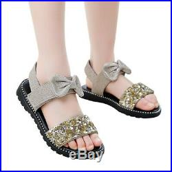 Children Toddler Kid Baby Girl Cute Bowknot Bling Sequins Princess Shoes Sandals
