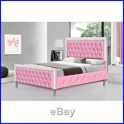 Childrens 5FT Pink White Diamante Princess Bed Kids Girls Boys Faux Leather Room
