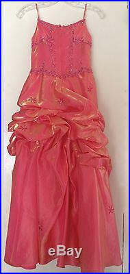 Coral Iridescent Formal Gown Pageant Petite Quinceanera Princess Party Dress 8