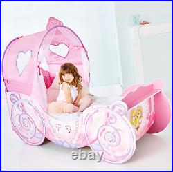 Disney Princess Carriage Kids Toddler Canopy Bed With Lights Safety Side Panels
