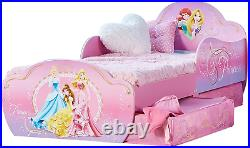 Disney Princess Kids Toddler Bed with Underbed 2 Storage Drawers Guards Girls