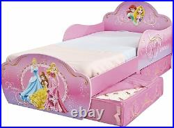 Disney Princess Kids Toddler Bed with Underbed Storage by HelloHome, Pink, 143.0