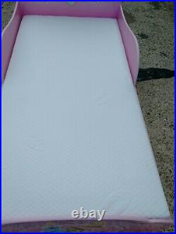 Disney Princess Kids Toddler Pink Bed with Mattress & Underbed Storage Preowned