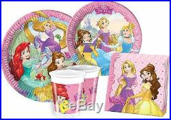 Disney Princess Party Tableware 24-People Plates Cups Napkins Pink Design Kids