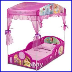 Disney Princess Plastic Sleep And Play Toddler Bed with Canopy Kids Girls Pink