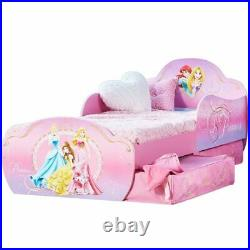 Disney Toddler Bed With Drawers Princess 142x59x77cm Deluxe Kid Cot WORL660016
