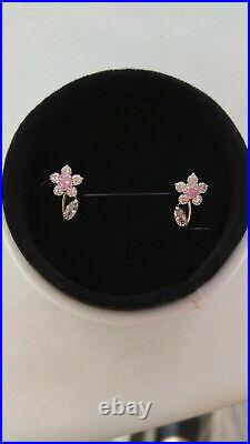 Earrings kids Russian Gold Rose 585 14k NEW with a tag with lab diamon (CZ) 1.72