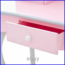 Fantasy Fields Kids Wooden Vanity Set Table With Mirror & Stool Pink TD-12851A