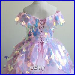 Girl Kids Handmade Paillette Pink Lace Formal Princess Party Dress Size 2 to 13