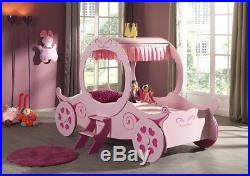 Girls 3'0 Single Childrens Kids Pink Princess Carriage Fairy Bed