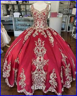 Girls Beaded Prom Quinceanera Dresses Gold Lace Applique Ball Gown Sweet 16 Plus