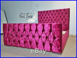 Girls Crushed Velvet Single Bed Frame Pink With Or Without Mattress Kids Beds