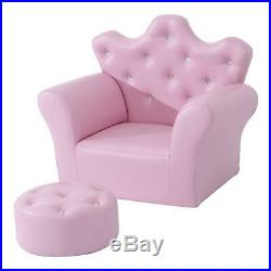 Girls Leather Armchair And Foot Stool Princess Style Set, Kids Bedroom Pink