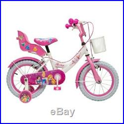 Girls Pink Princess Bike 14 Inch Kids Bicycle With Removable Stabilisers Basket