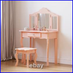 Girls Pink&White Vanity Dressing Table With Mirror&Stool Fantasy Princess Room