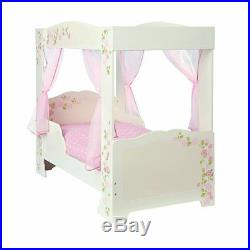 Girls Rose 4 Poster Toddler Bed + Deluxe Foam Mattress Kids Age 18 Month +