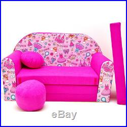 H35 Children Kids Babies mini couch sofa bed pouffe pillow 3in1 (pink Princess)