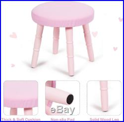 HOMGX Chair, Princess Dressing Table with Cushioned Stool, Large Drawer and Pine