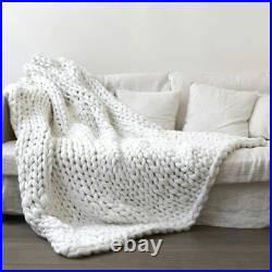 Hand Chunky Knitted Blanket Thick Yarn Wool-like Polyester Bulky Knitted Blanket