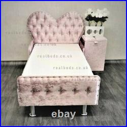 Heart Toddler Bed in Crushed Velvet FREE delivery Kids Princess Fairy Luxury