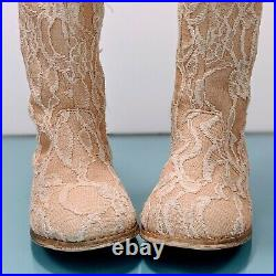 JOYFOLIE Lacey Toddler Girls Size 6 Antique Ivory Rose Lace Beige Boots Shoes