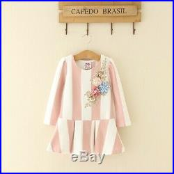 Kid Autumn Long Sleeve Dress Formal Wear Sequin Floral Embroidery Stripe Dresses