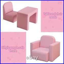 Kids 3 in 1 Mini Sofa Princess Relax Armchair Table&Chair Set Toddler Gift Girls