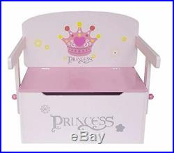 Kids 3 in 1 Princess Convertible Toy Box Bench & Table Chair Toddler Furniture